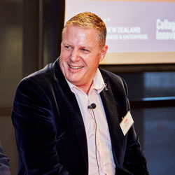 Clive Spink, CEO Pukeko Pictures, speaking at TIN networking event in Wellington