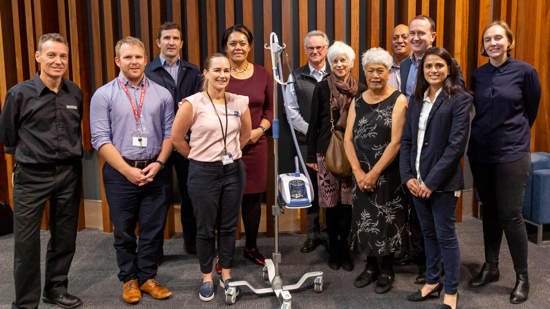 Fisher & Paykel Healthcare with leaders of Manukau DHB / Middlemore Hospital, where they donated 12 myAIRVO devices for patient use.
